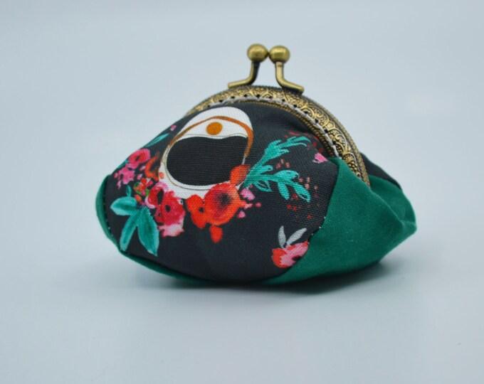 Vintage space themed change purse 100% cotton with metal claps – coin purse – change purse – kisslock purse – money wallet