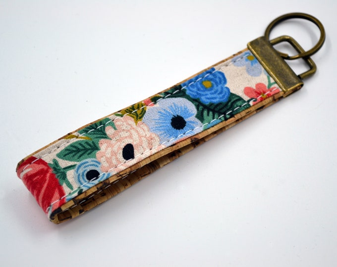 Cotton keyring with pink and blue flowers with natural cork, keyring, kit, strap
