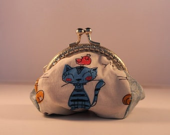 Cat change purse 100% cotton with metal claps – coin purse – change purse – kisslock purse – money wallet