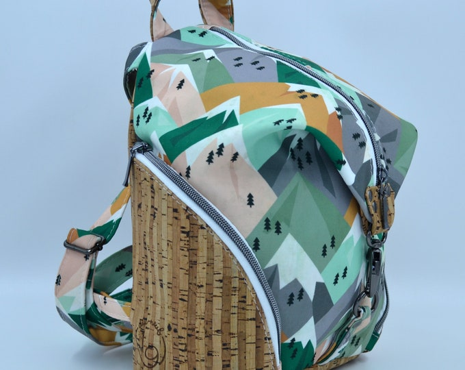 READY TO GO Canva bag with pink, green and orange mountain motifs and natural cork. Backpack, Cork leather base, Vegan