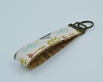 Cotton key ring with blue, golden, pink cactus patterns with natural cork, key ring, trousseau, strap