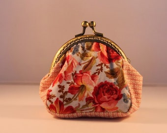 Floral change purse 100% cotton with metal claps – coin purse – change purse – kisslock purse – money wallet