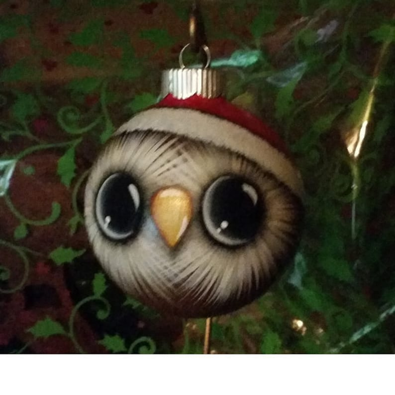 Owl Ornament with Santa Hat. Handpainted glass ornament. image 0
