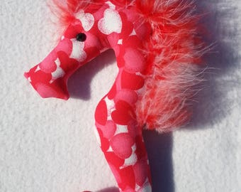 valentines day, valentine gift, valentine ornament, seahorse, red,hearts, valentine decor, seahorse ornament, valentine fabric