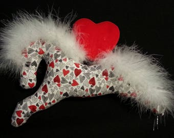 Valentine pony, ornament, gift, party favor, Valentines Day, Valentines Day party, heart fabric, Valentine fabric, Valentine barn party