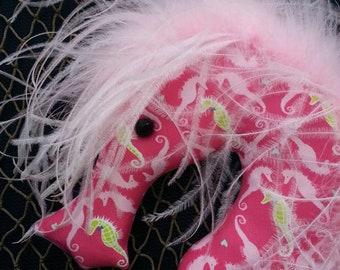 seahorse, seahorse fabric, pink, pink seahorse, seahorse mobile, little girls room, babys room, baby shower, baby mobile