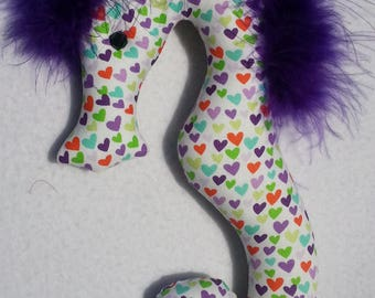 Valentine, Valentines Day gift, seahorse, rainbow, hearts, seahorse ornament, valentine ornament, valentines day party