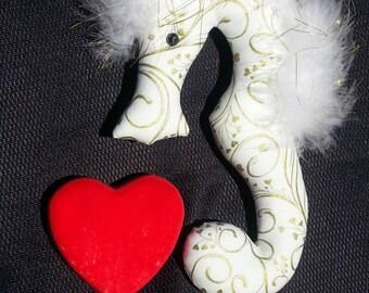 Valentine, unique valentine, seahorse, ornament, valentine party favor, valentine party, seahorse ornament, valentine seahorse