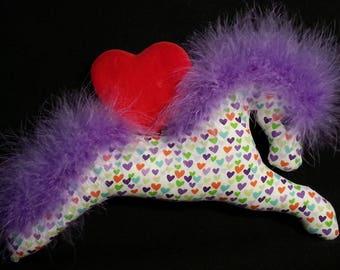 Valentines Day, purple, heart fabric, Valentines fabric, party favor, equestrian valentine, valentine ornament