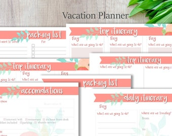 Trip Planner, Vacation Planner, Printable, Organize,  Instant Download