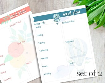 Meal Planner, Printable list, Balloons and Flowers, Organize,  Instant Download