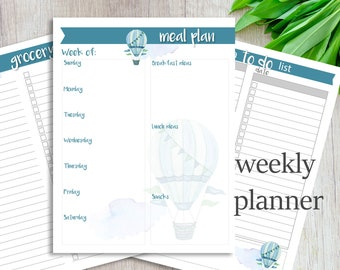 Meal Planner, Grocery List, To Do List, Printable list, Balloons, Organize,  Instant Download
