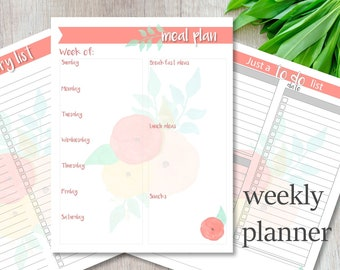 Meal Planner, Grocery List, To Do List, Printable list, Floral, Organize, Instant Download