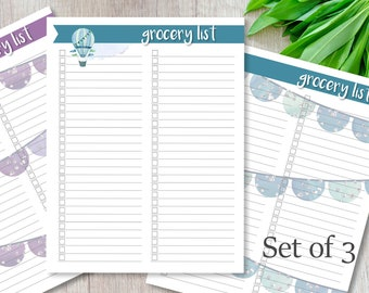 Grocery list, Printable list, Balloons and Banners, Organize,  Instant Download