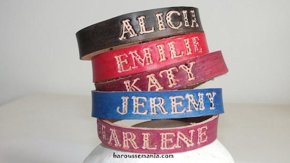 bracelet cuir prenom