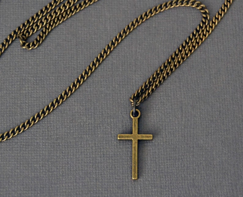 Brass Cross with Curb Chain Cross Pendant on Brass Curb Chain Mens Cross Necklace Mens Jewelry Mens Pendant Necklace
