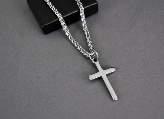 Silver Necklace for Men with Cross Charm Silver Cross Made by Nami Handmade Surfer Jewelry Mens Stainless Steel Necklace Chain 23 with Pendant