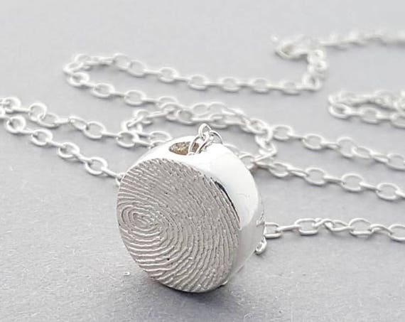 double sided  fingerprint slider charm necklace