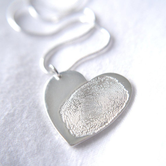 heart shaped fingerprint necklace