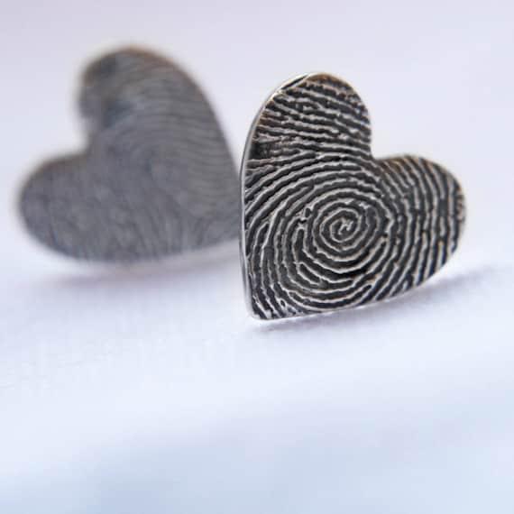 heart shaped fingerprint earrings