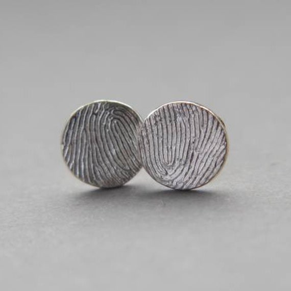 round sterling silver fingerprint earrings-