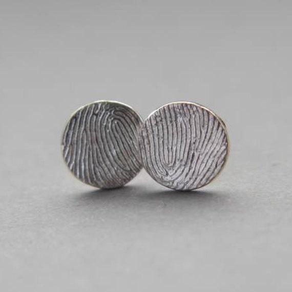 round sterling silver fingerprint earrings-