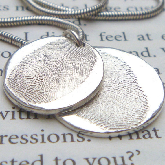 double descending fingerprint necklace