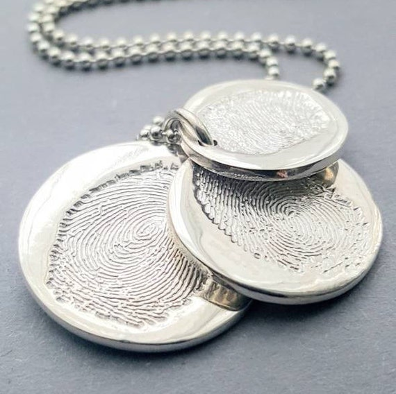 Triple descending fingerprint charm necklace