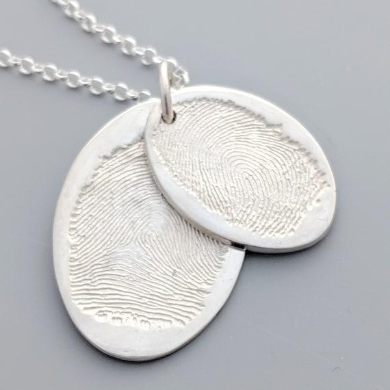 fingerprint jewellery- oval sterling silver descending fingerprint necklace- memorial jewellery-gift for her- custom jewellery