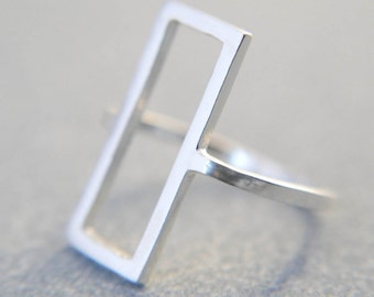 Minimalist ring, Geometic ring, Geometric jewellery, Minimalist jewellery, Rectangle ring, Statement ring, Silver ring, Gift for her