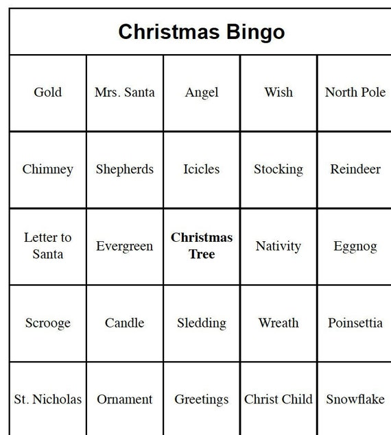 image regarding Christmas Bingo Card Printable titled 20 Affected individual Printable Xmas Bingo Playing cards