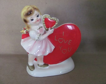 Relpo White Planter with Red Hearts and Gold Arrow Vintage Ceramic Valentine/'s Vase Superb Condition