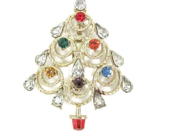 Vintage Christmas Brooch, 1960's Gold Rhinestone Christmas Tree Brooch, Christmas Tree Pin, Holiday, Christmas Jewelry