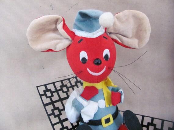 Vintage Christmas Mouse 1960 S Dakin Dream Pet Velvet Etsy