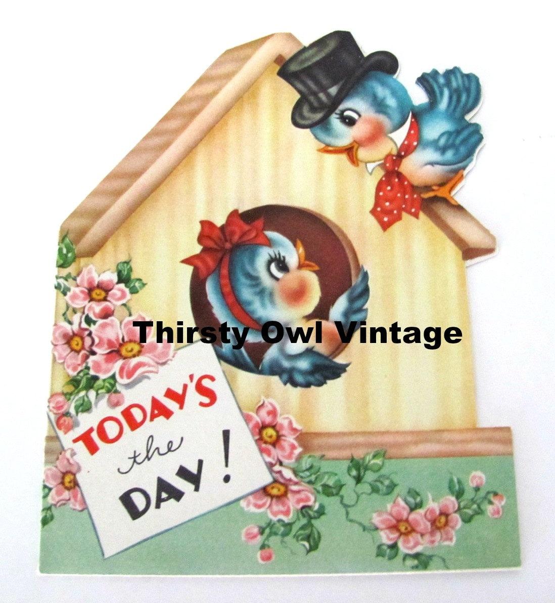 Digital Download Vintage Bluebird Greeting Card 1950s Etsy