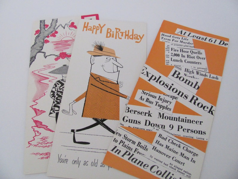 Get Well 1960/'s Studio Box Greeting Cards Birthday Funny Cards Humorous Vintage Greeting Cards