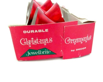 Vintage Christmas Ornaments, 1960's Jewelbrite Bell Ornaments, Plastic Christmas Ornaments, Red Bell Ornaments, Christmas Decor, Mid Century