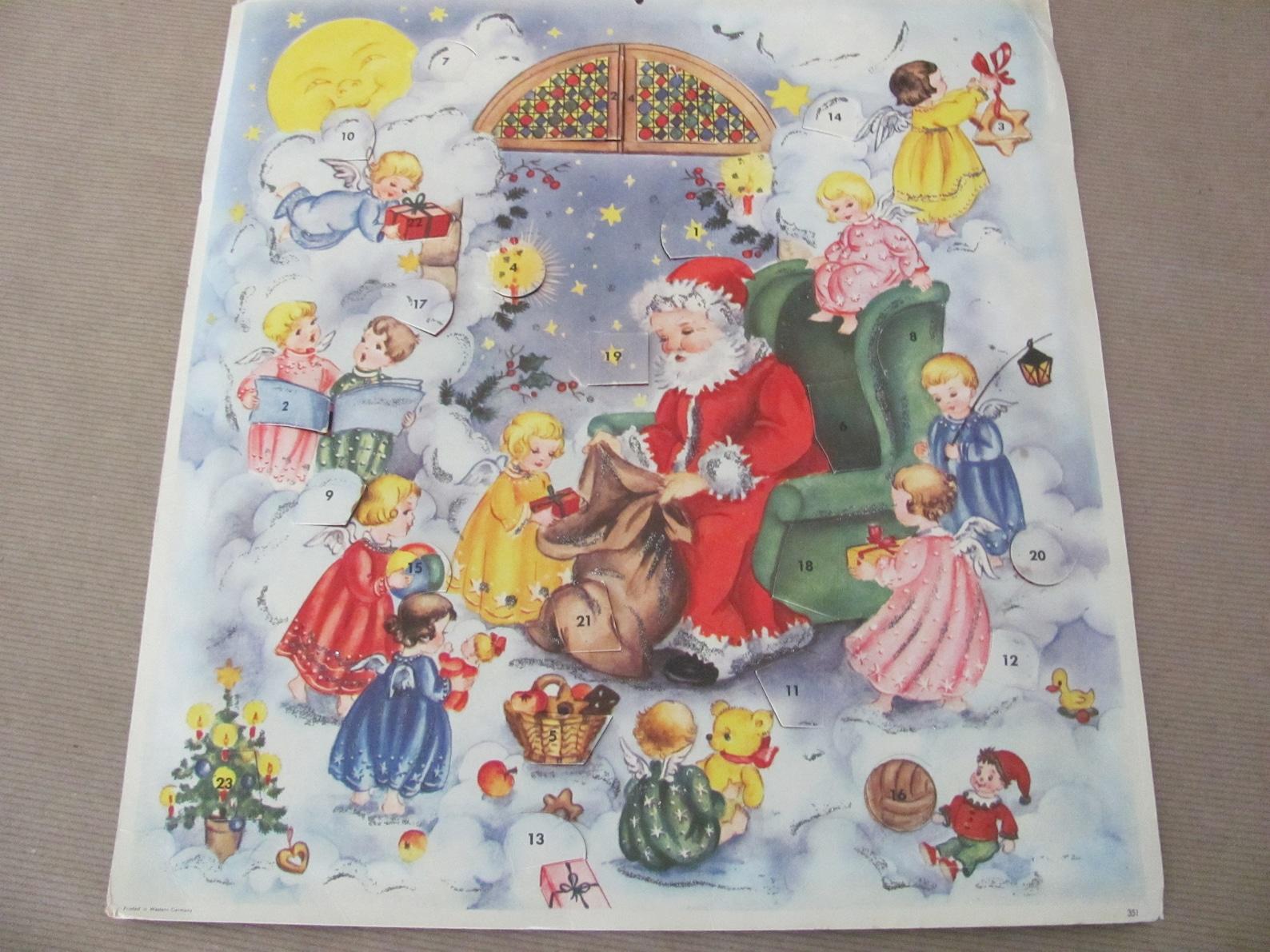 Vintage Christmas Advent Calendar, 1950's Santa Paper Advent Calender, West Germany, 1950's Christmas Decor