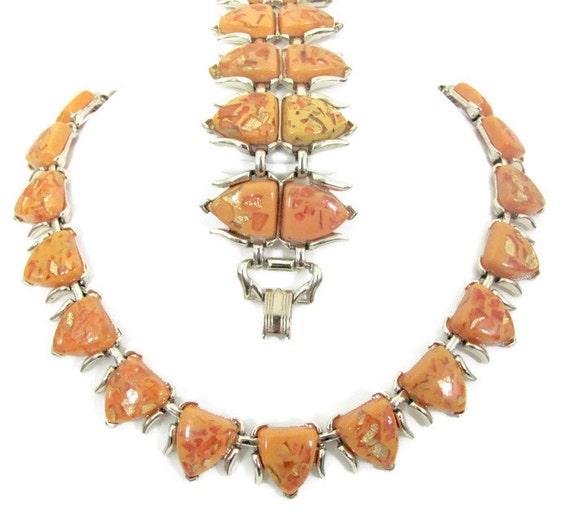 Vintage Orange Necklace and Bracelet Set, 1960's C