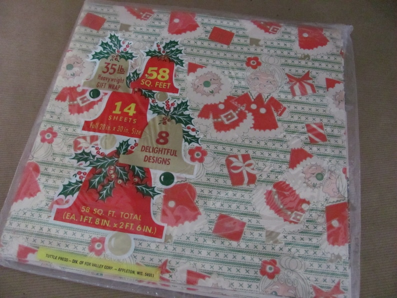 Christmas Decor Decorations Gift Wrap 1960/'s NOS Christmas Wrapping Paper Package Vintage Christmas Gift Wrap