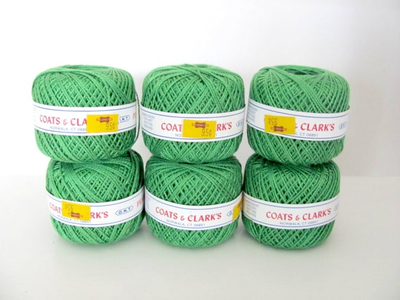 Vintage Green Pearl Cotton Thread Lot Coats And Clark Pearl Etsy