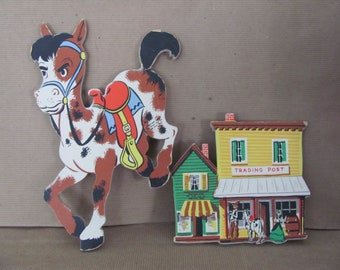 Vintage Boy Nursery, Bedroom Decor, 1950's Dolly Toy Co, Cowboy, Western Theme Baby Nursery Wall Hanging, Mid Century Nursery Decor