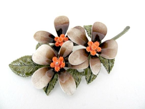 Vintage Enamel Flower Brooch, 1960's Brown, Coral