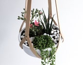 Hanging basket, minimalist hanging planter vegetable tanned leather, natural leather including white ceramic bowl (without plants)