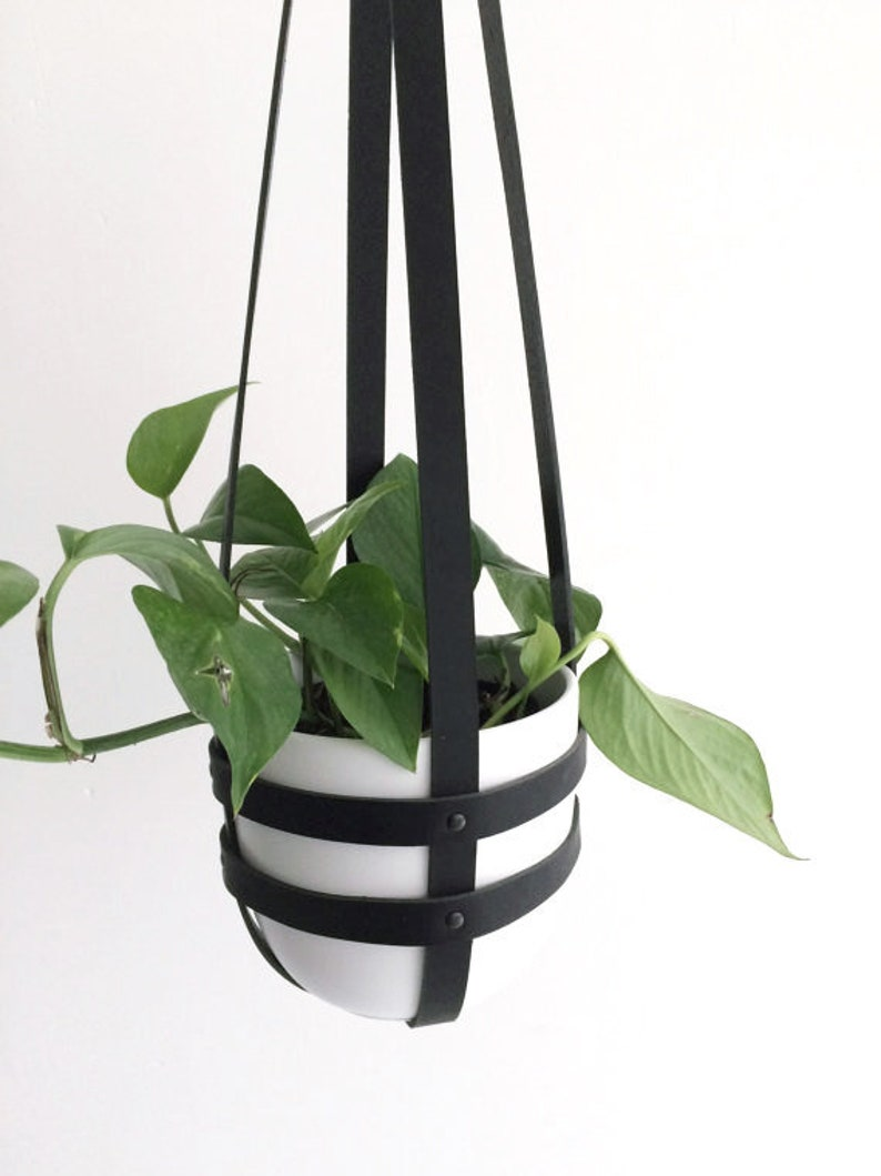 Minimal leather plant hanger indoor ceiling planter modern image 0