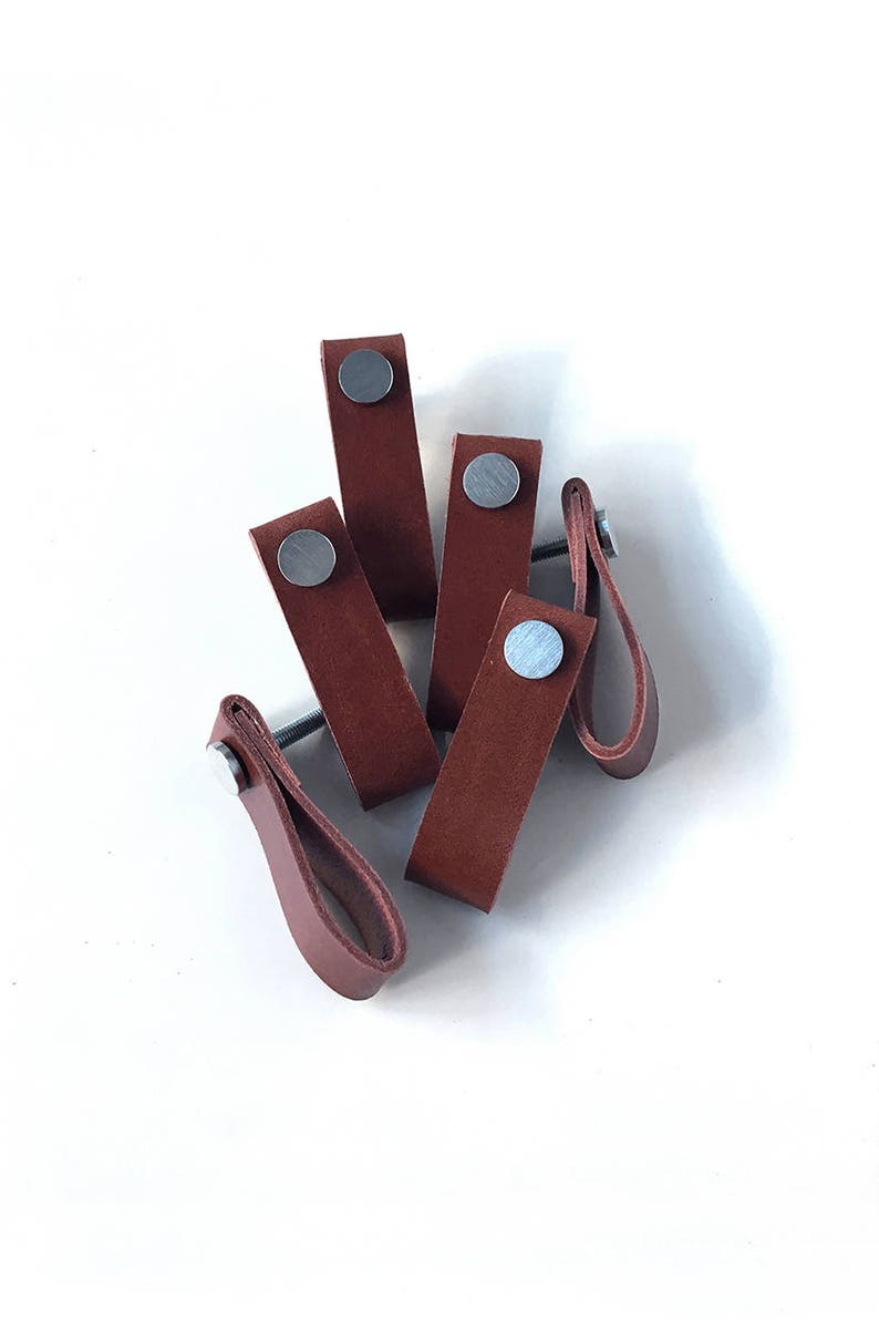 Set of 6 cognac leather pulls handmade brown leather handles image 0