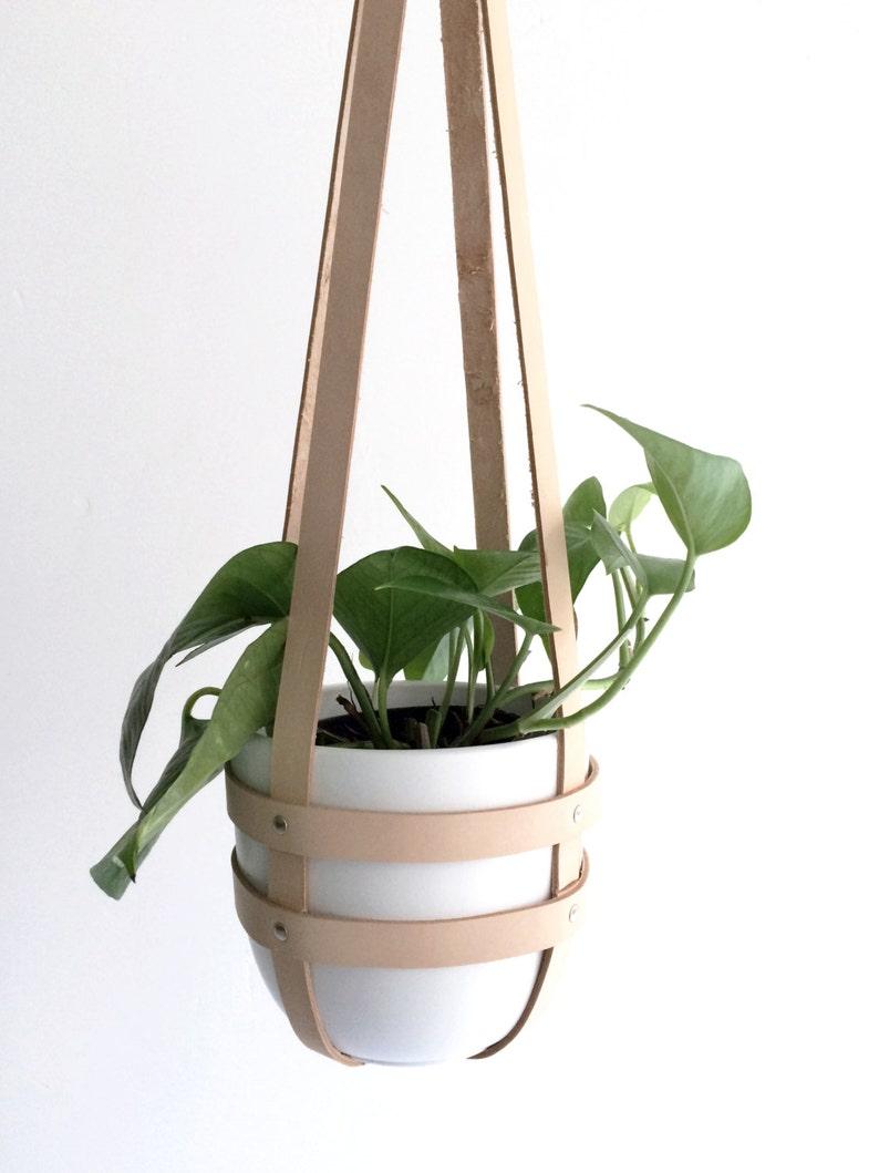 Hanging planter natural leather ceiling planter modern plant image 0