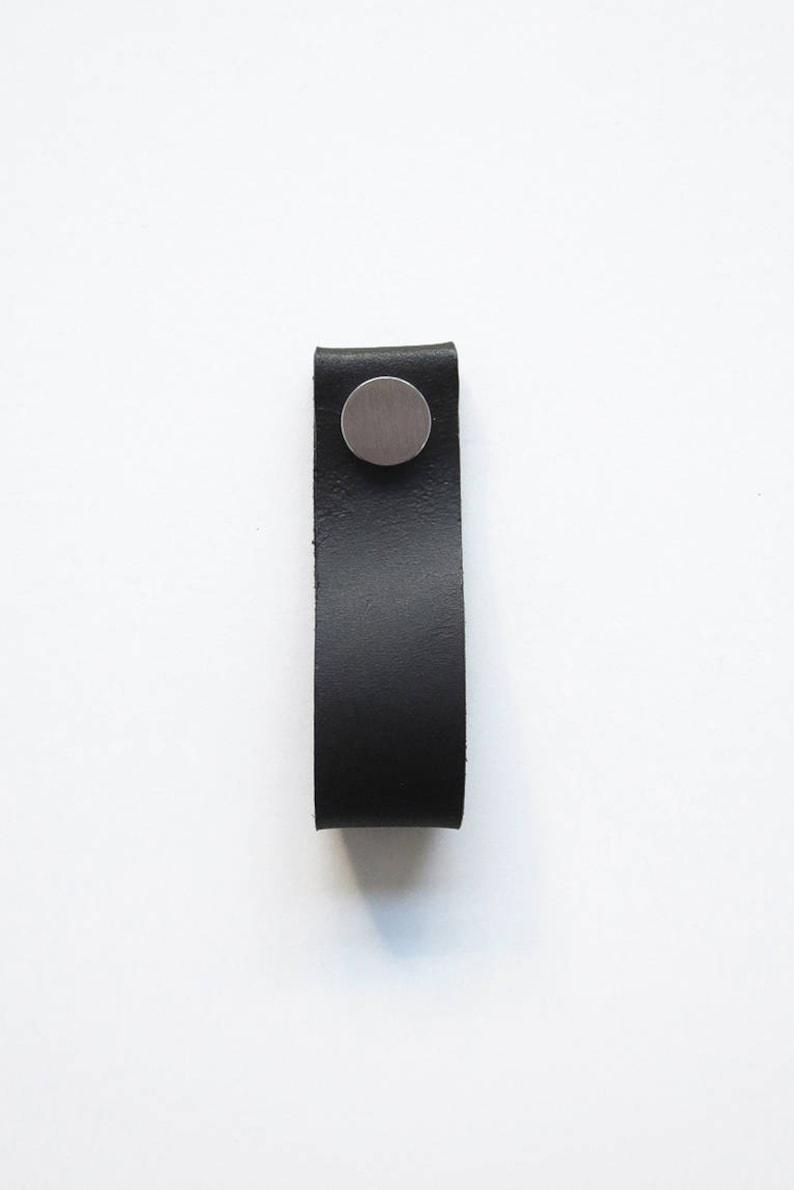 Black leather handle black leather pull handmade leather image 0