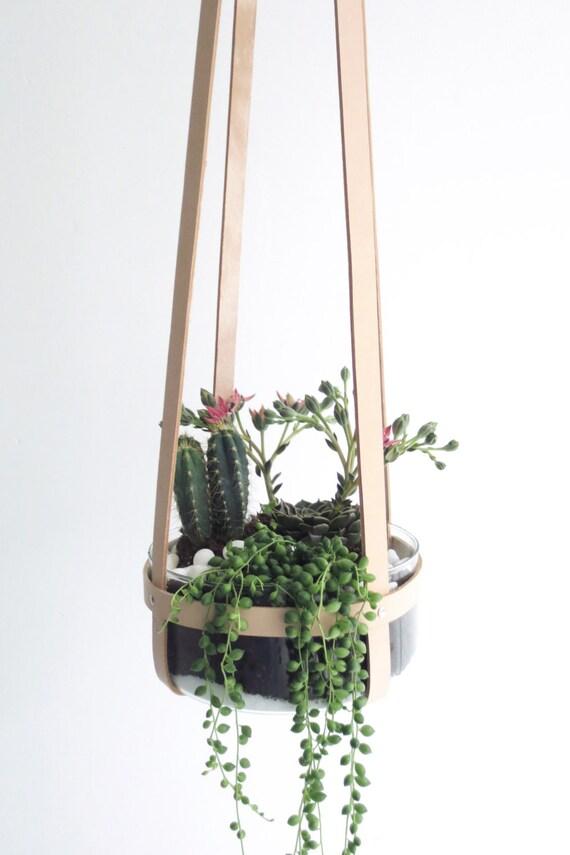 plant hanger natural leather ceiling planter hanging mini etsy. Black Bedroom Furniture Sets. Home Design Ideas