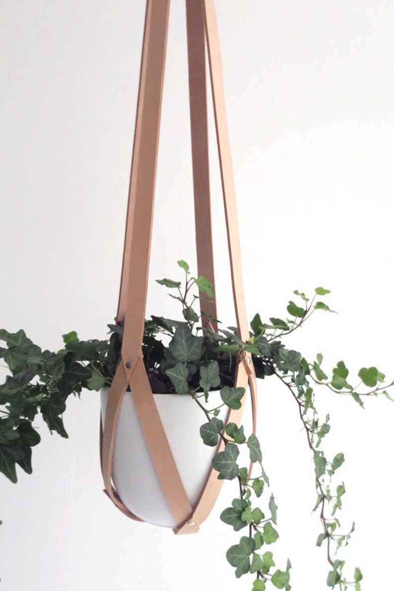 Plant hanger leather ceiling planter leather geometric image 0